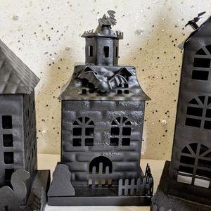Pottery Barn Holiday - Set 3 Pottery Barn Metal Halloween Haunted Houses